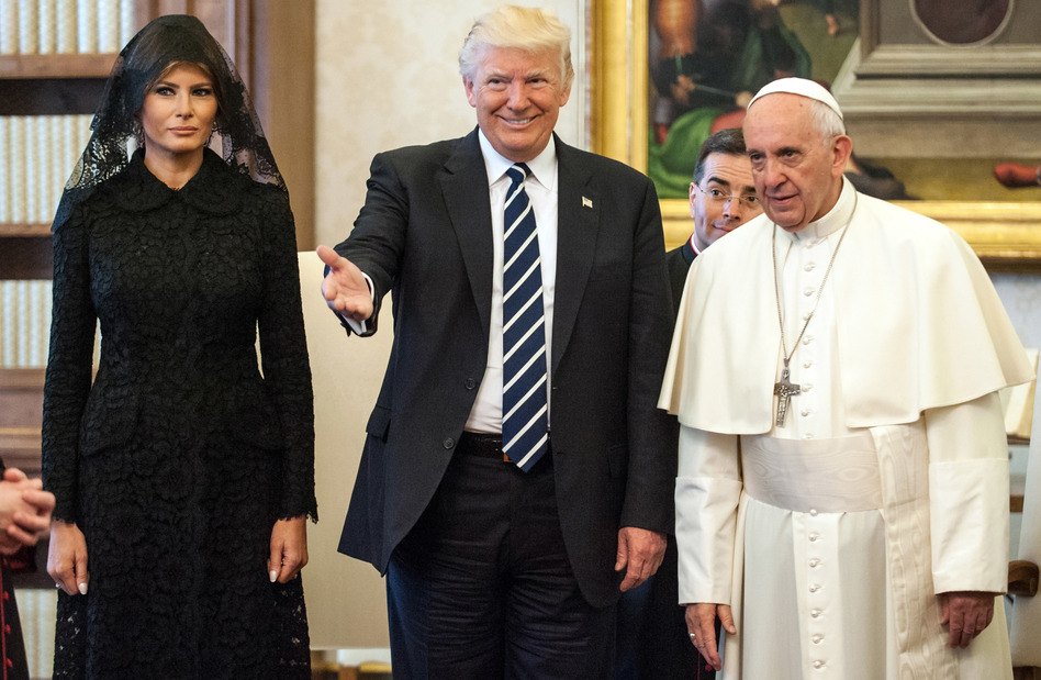 President Trump and first lady Melania Trump meet with Pope Francis on Wednesday at the Apostolic Palace in Vatican City. (Vatican Pool/Getty Images)