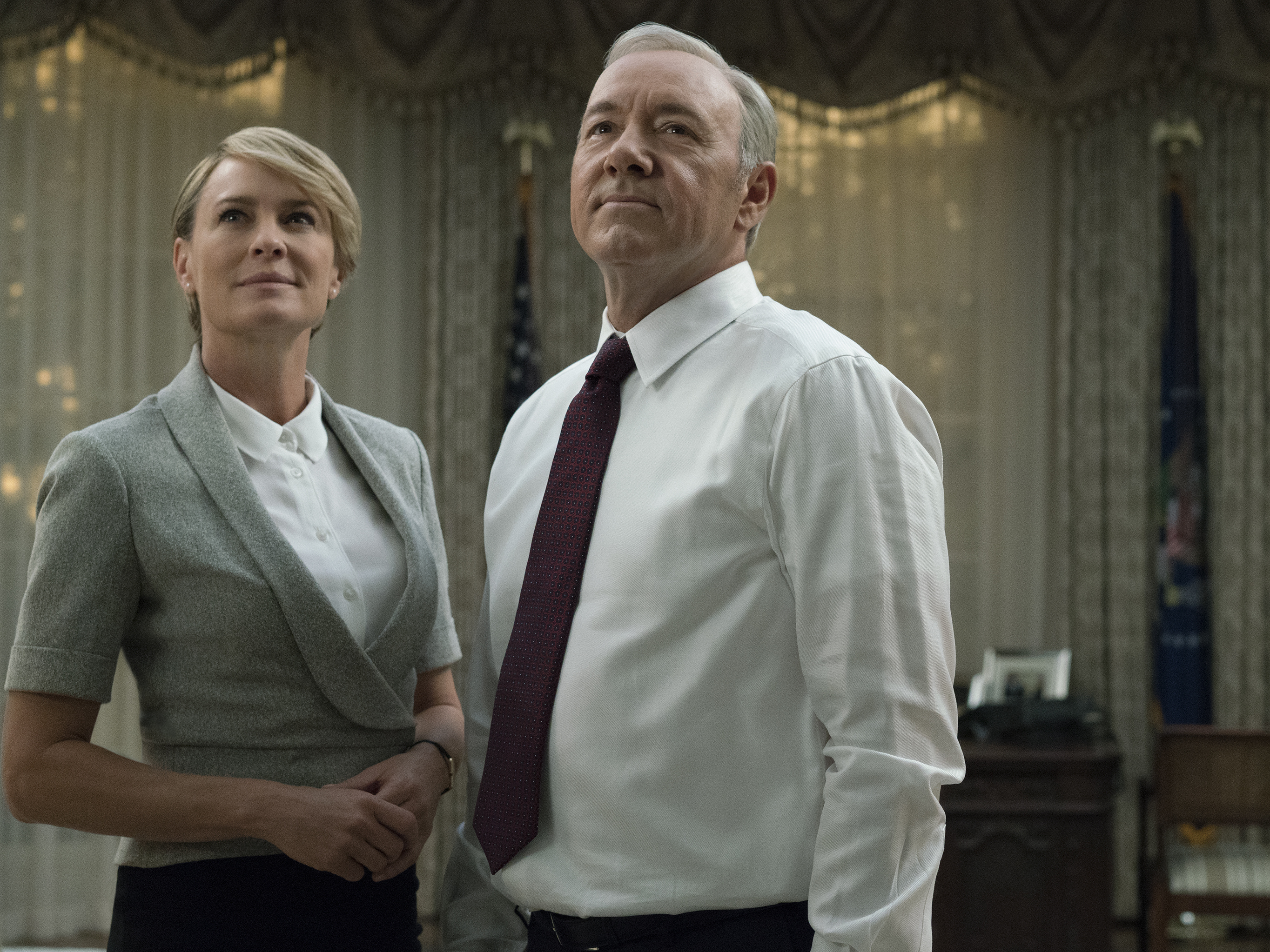 House of Cards power couple Frank and Claire Underwood (played by Robin Young and Kevin Spacey) have an open marriage. (David Giesbrecht/Netflix)