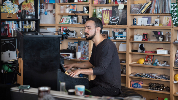 Gabriel Garzon-Montano performs a Tiny Desk Concert on May 3, 2017. (Claire Harbage/NPR)