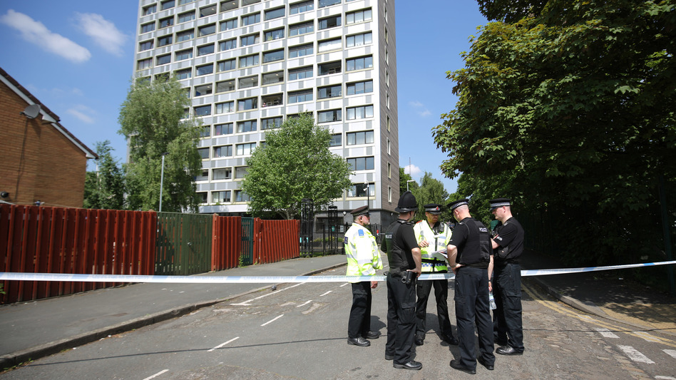Police seal off Lindy Road in Manchester, England, on Thursday as the investigation into Monday night's attack continues. Greater Manchester Police are treating the explosion at an Ariana Grande concert as a terrorist attack and have confirmed at least 22 fatalities. (Christopher Furlong/Getty Images)