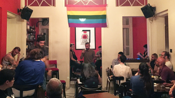 In Beirut, an audience listens to testimonies about encounters with the police over homosexuality. The event was part of Beirut Pride week – the city