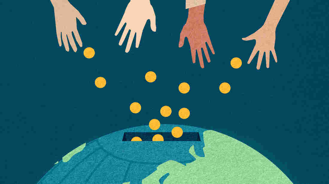 Illustration of hands giving money to the world.