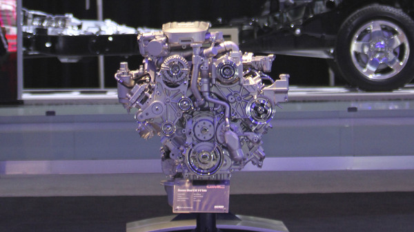 The GMC Duramax Diesel 6.6L V-8 Turbo engine, seen here during the 2011 New York International Auto Show, is at the center of a new lawsuit over emissions.