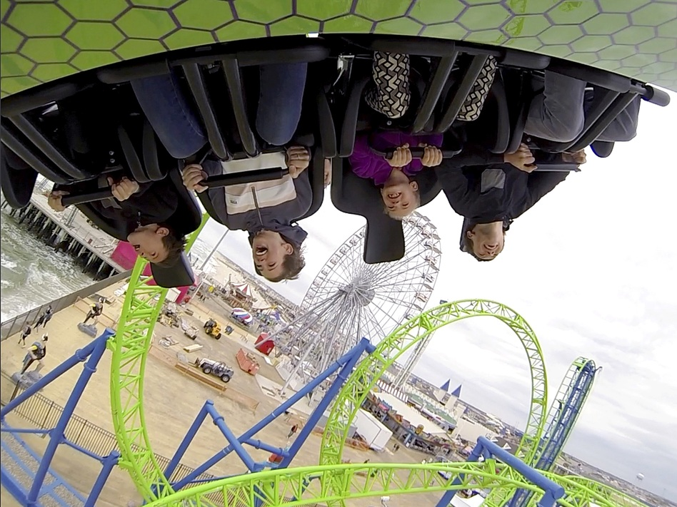 People ride the new Hydrus coaster during an outing at Casino Pier in Seaside Heights, N.J. (Julio Cortez/AP)