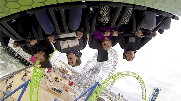 People ride the new Hydrus coaster during an outing at Casino Pier in Seaside Heights, N.J.