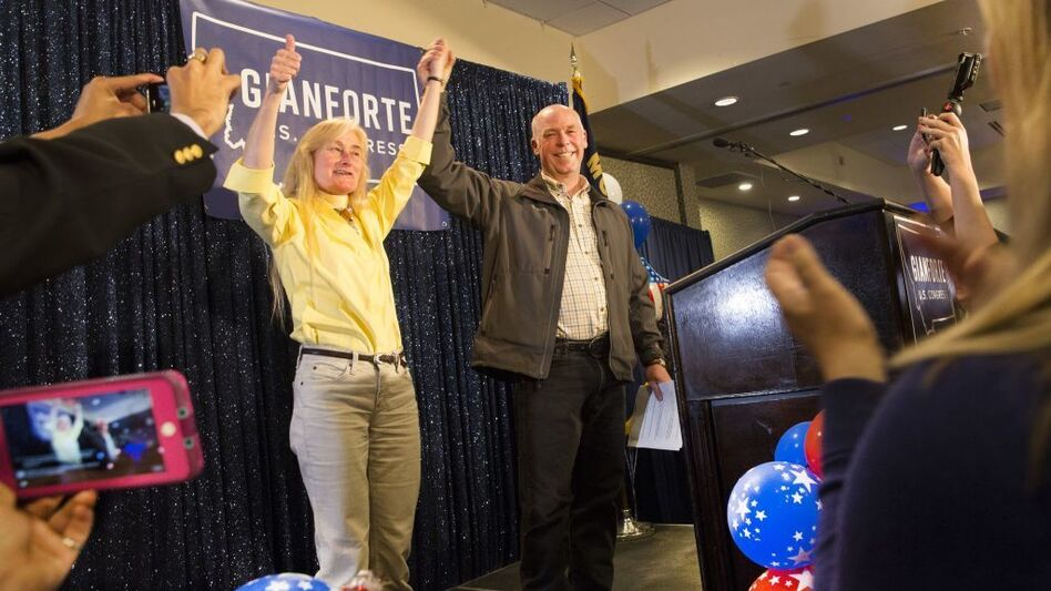 Republican Greg Gianforte celebrates with supporters at the Hilton Garden Inn in Bozeman, Mont., on Thursday after being declared the winner of Montana's special House election. (Janie Osborne/Getty Images)