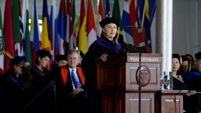 Hillary Clinton at the Wellesley College commencement Friday.