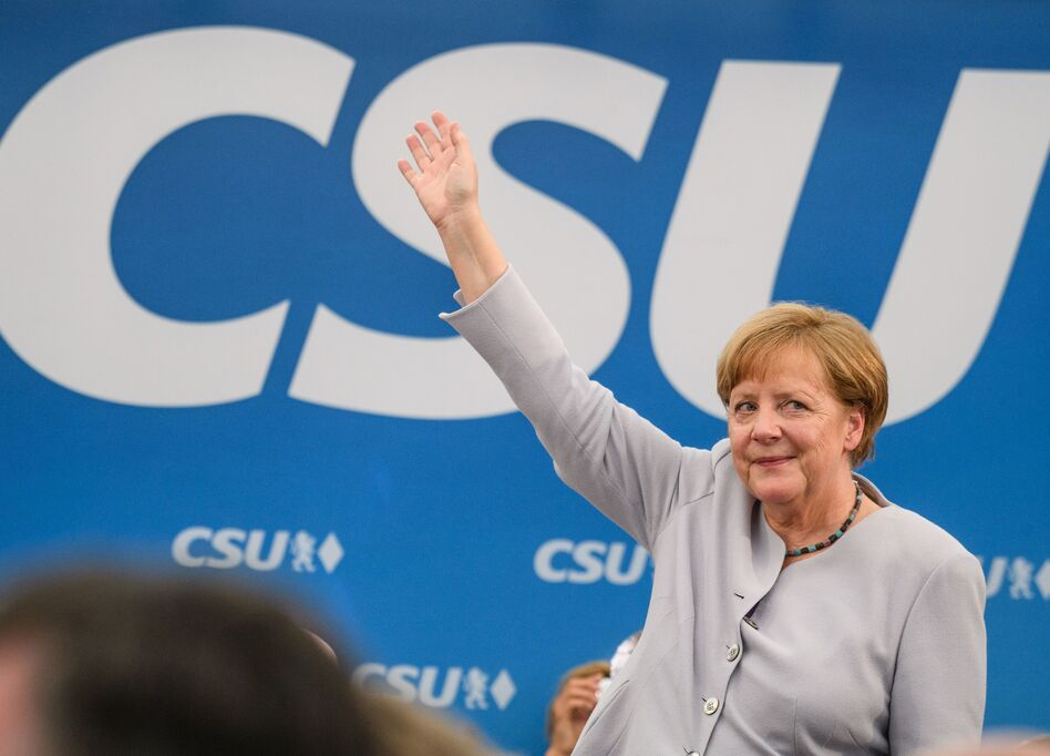 German Chancellor Angela Merkel issued a call for European unity in a speech at a joint campaigning event of the Christian Democratic Union and the Christian Social Union in Munich, southern Germany, on Sunday. (Mattias Balk/AFP/Getty Images)