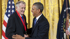 President Obama presents the National Humanities Medal Frank Deford at the White House in 2013.