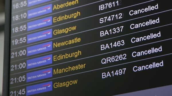 A board at Heathrow Airport in London displays a slew of cancellations for British Airways flights on Saturday. An IT systems failure laid waste to flyers