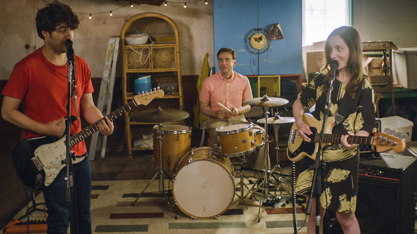 Married couple Ben (Adam Pally, left) and Anna (Zoe-Lister Jones) form a band with their weird neighbor Dave (Fred Armisen) in Band Aid.