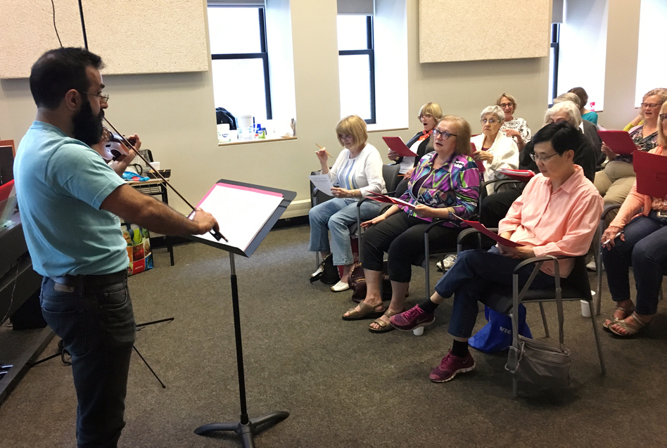 Most of the people in a choir at Ryerson University in Toronto have joined a study testing how practicing music might help people with hearing loss handle noisy environments better. (Andrea Hsu/NPR)