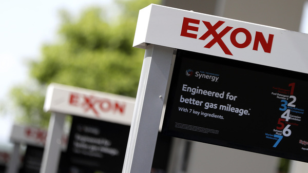 Exxon service station signs are displayed in Nashville, Tenn., in April. The company
