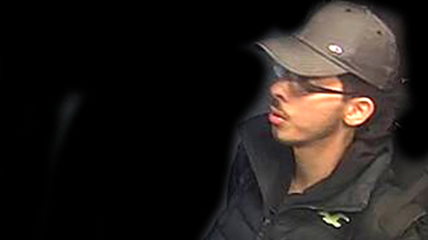 A handout photo that was issued by Greater Manchester Police on Saturday, May 27, shows Salman Abedi in an unknown location on the night of the attack on Manchester Arena. Police altered the background of the image.