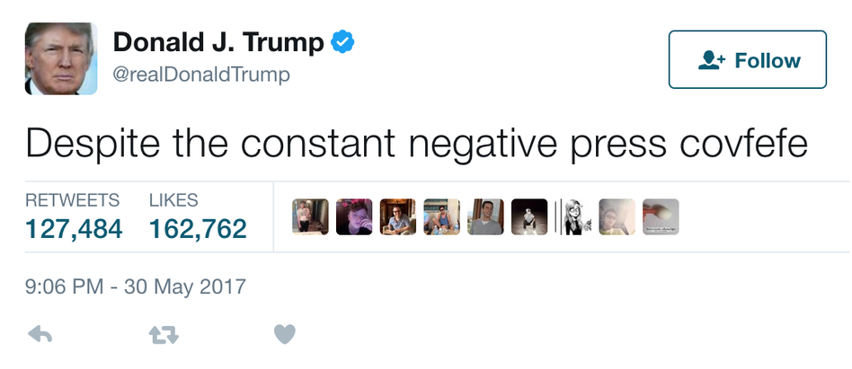 """A tweet by President Trump, which has been deleted, caused a stir with its mention of """"negative press covfefe."""" (@realDonaldTrump/Screenshot by NPR)"""