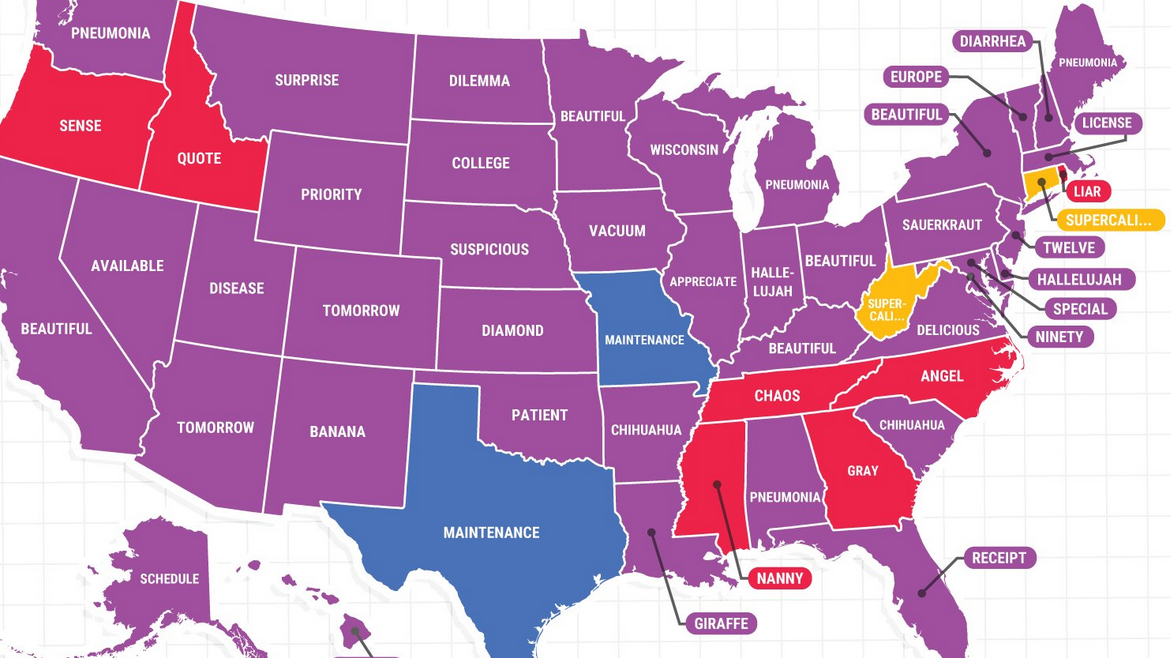 Misspellings Google Mapped America The How Do You Spell Beautiful