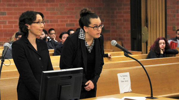 University of Connecticut law professor Jessica Rubin, left, and law student Taylor Hansen present arguments as animal advocates in a dogfighting case in Hartford on Tuesday. Connecticut is the first state to allow court-appointed advocates to represent animals in cruelty and abuse cases.
