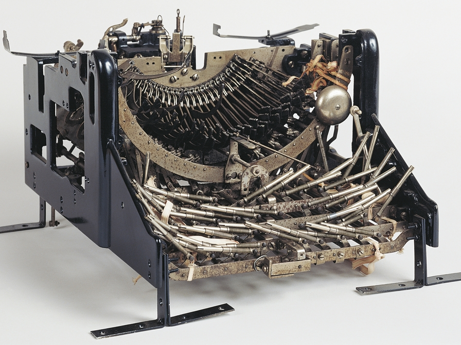 Standard manual Olivetti M1 typewriter, without the keyboard and platen roller, 1911. Italy, 20th century. (DeAgostini/Getty Images)