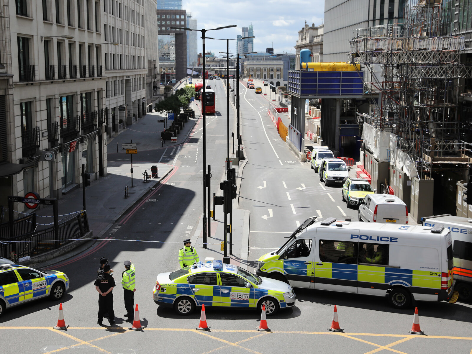 Police operate a cordon on the north side of London Bridge on Sunday. (Dan Kitwood/Getty Images)