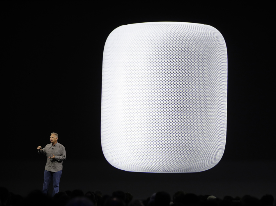 Apple executive Phil Schiller introduces the HomePod speaker at the Apple Worldwide Developers Conference in San Jose, Calif. (Marcio Jose Sanchez/AP)