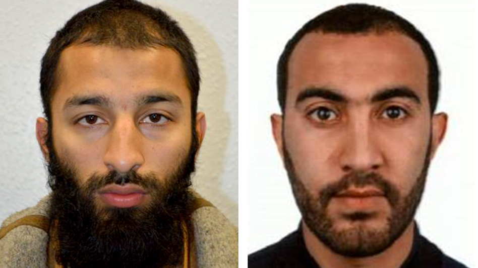 Khuram Shazad Butt (left) and Rachid Redouane were killed within minutes of Saturday's attack on London Bridge, British detectives say. (Metropolitan Police Department)