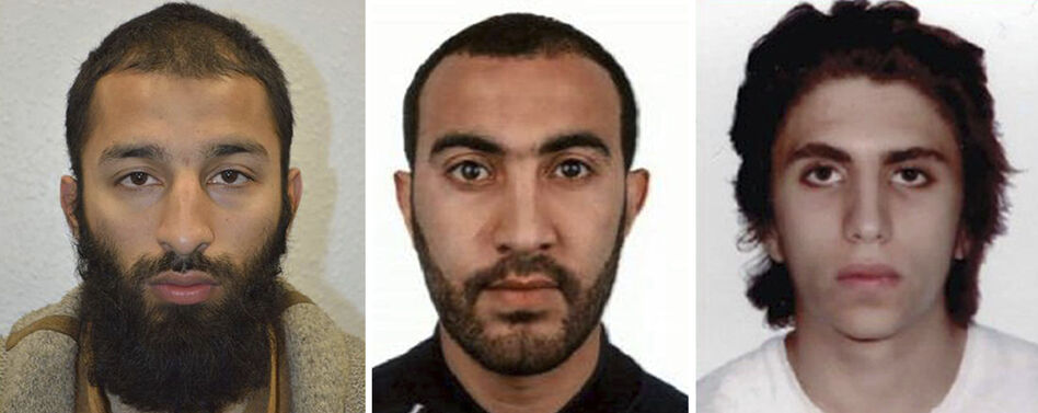 Khuram Shazad Butt (from left), Rachid Redouane and Youssef Zaghba have been named as the attackers in Saturday's attack at London Bridge.