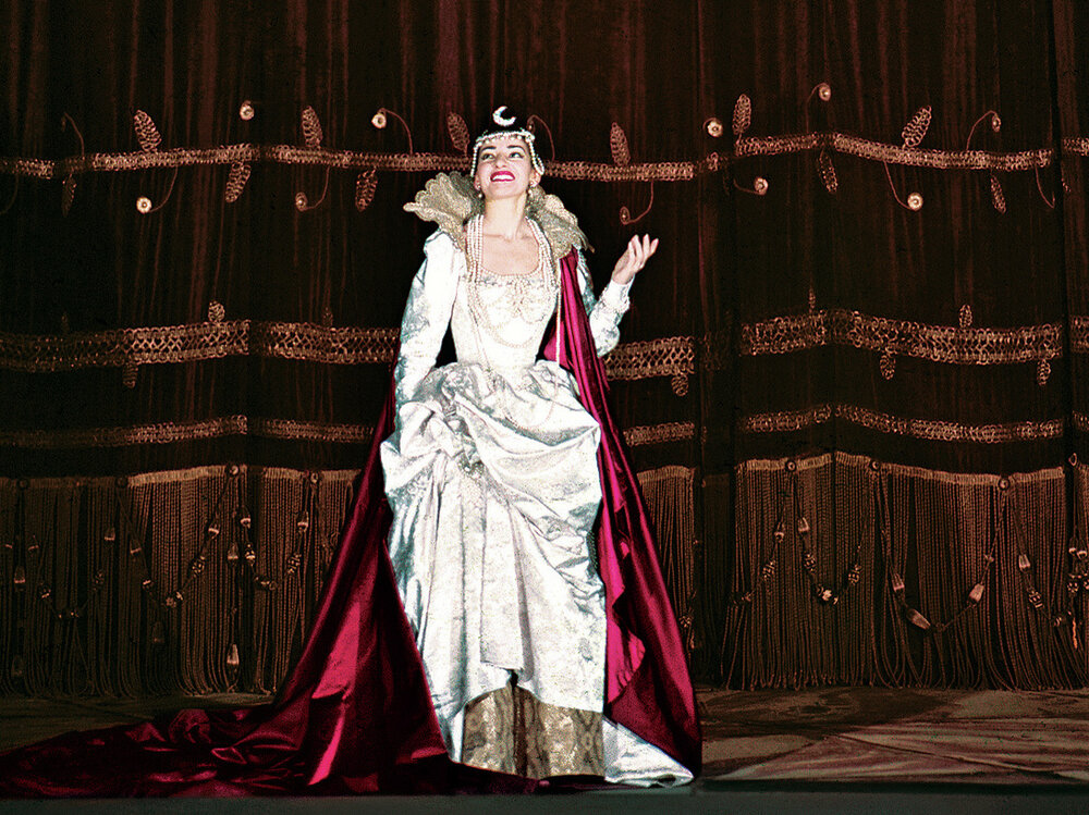 Maria Callas takes a curtain call in Gluck's Iphigénie en Tauride, at La Scala in Milan, Italy, in 1958.