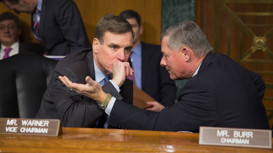 Sens. Mark Warner, D-Va., and Richard Burr, R-N.C., lead the Senate Intelligence Committee, which is investigating Russian meddling in the 2016 presidential election. (Tasos Katopodis/AFP/Getty Images)