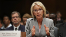 Education Secretary Betsy DeVos testifies before the Senate Appropriations Committee on Tuesday. DeVos testified on the fiscal year 2018 budget request for the Education Department.