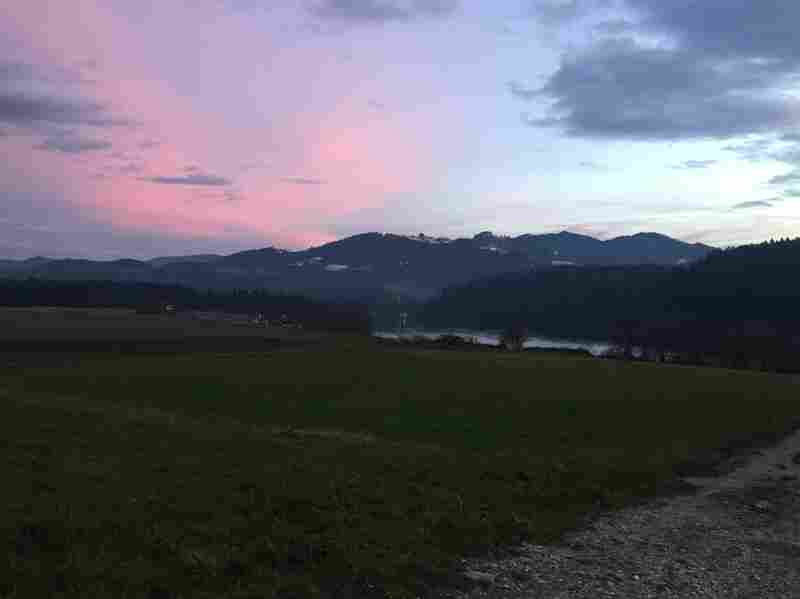 Hawkins was able to take in a sunset in Gortina, Slovenia, an experience he might not have chosen for himself.