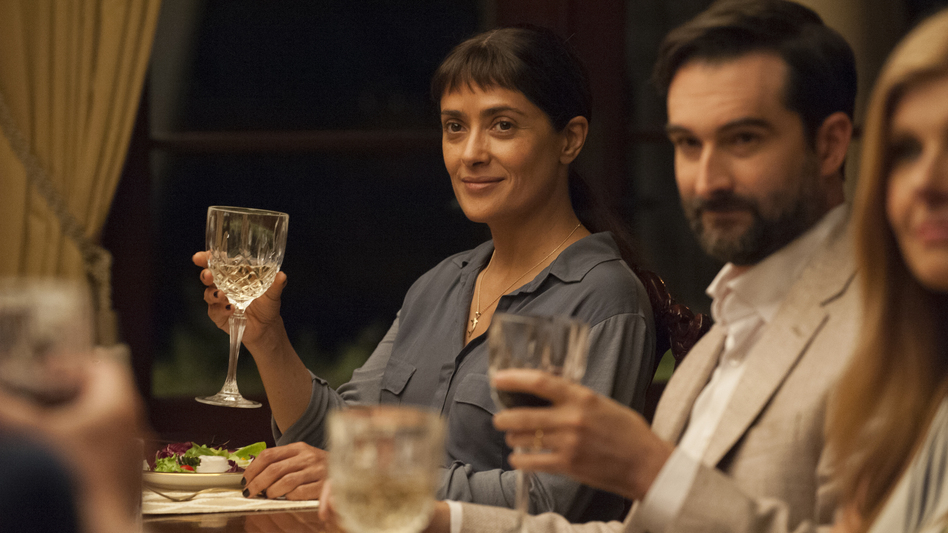 Beatriz (Salma Hayek) and Alex (Jay Duplass) in <em>Beatriz at Dinner.</em> (Lacey Terrell/Roadside Attractions)
