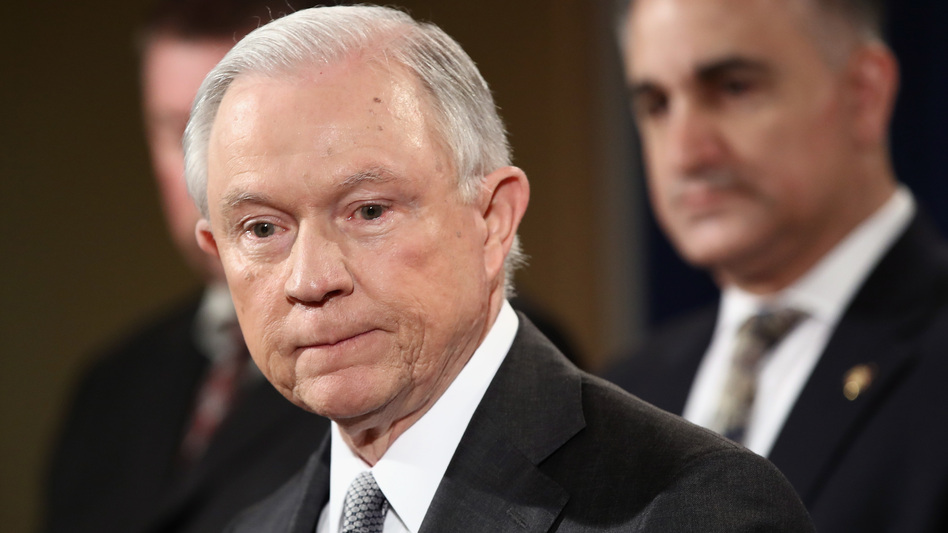 U.S. Attorney General Jeff Sessions delivers remarks during the Sergeants Benevolent Association of New York City event on May 12, 2017 in Washington, D.C. (Win McNamee/Getty Images)