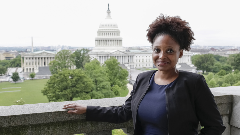 The new poet laureate of the United States, Tracy K. Smith, visits the Library of Congress Poetry and Literature Center in Washington, D.C., last month. (Shawn Miller/Library of Congress)