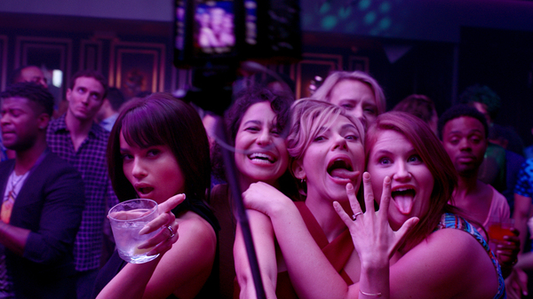 (L to R) Blair (Zoe Kravitz), Frankie (Illana Grazer), Jess (Scarlett Johansson), Pippa (Kate McKinnon) and Alice (Jillian Bell) in Rough Night.