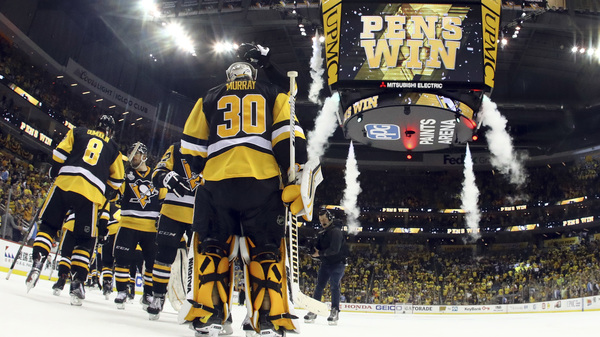 Pittsburgh Penguins goalie Matt Murray (30) and teammates celebrate their 6-0 win over the Nashville Predators in Game 5 of the Stanley Cup Final Thursday night in Pittsburgh.