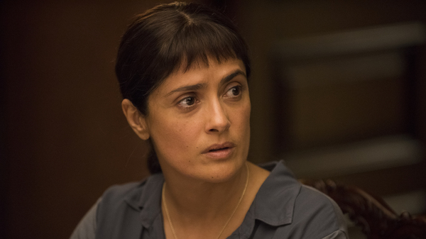 In Beatriz at Dinner, Salma Hayek plays Beatriz, a massage therapist who attends a dinner party at the home of her wealthy clients.