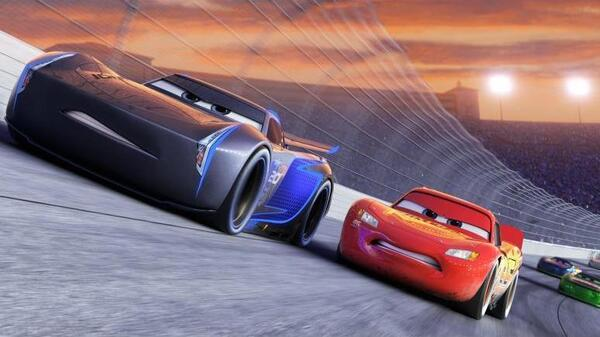 Jackson Storm (Armie Hammer) and Lightning McQueen (Owen Wilson) in Cars.