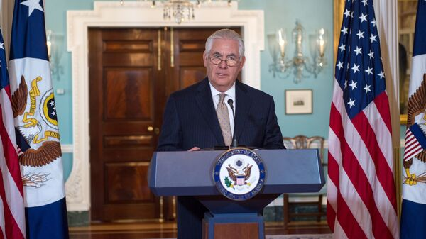 Secretary of State Rex Tillerson speaks in the Treaty Room of the U.S. Department of State on Friday, urging Saudi Arabia and its regional allies to ease their blockade of Qatar.