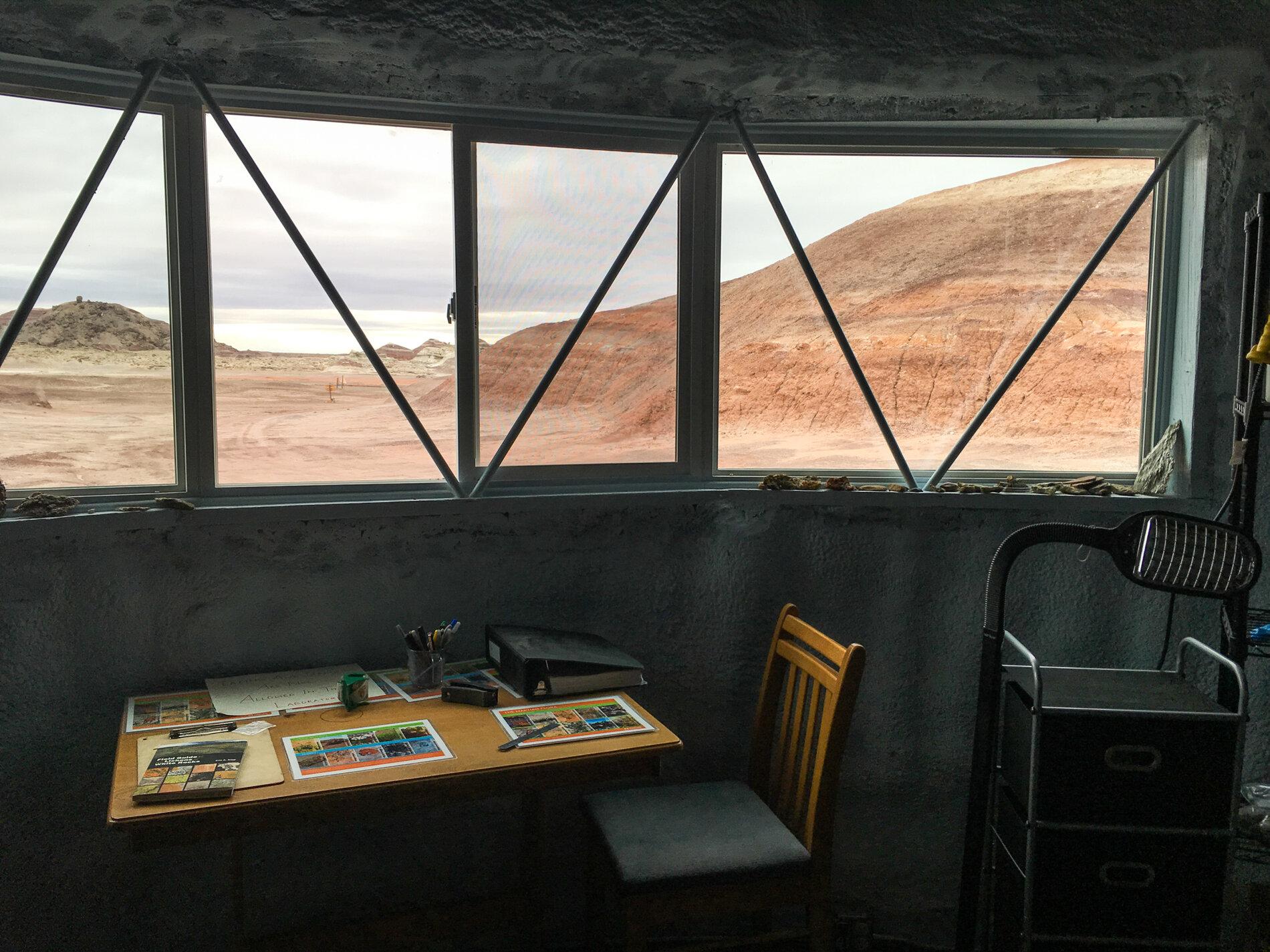 A window in the station's science lab looks out onto Utah's Mars-like desert landscape.     (Rae Ellen Bichell/NPR)