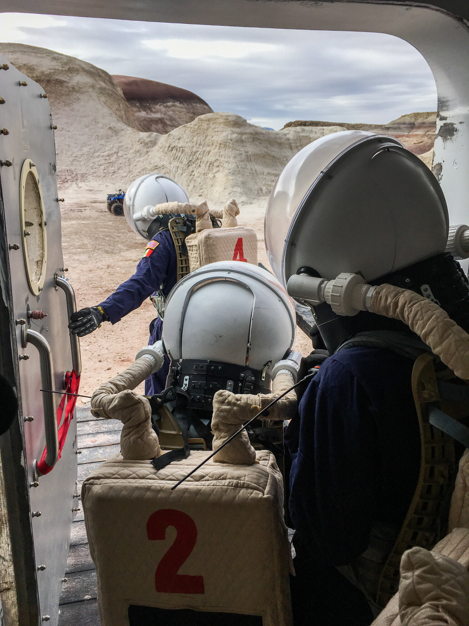 Crew members count to 60 before exiting the capsule, to simulate the depressurization time required if they were really on Mars.     (Rae Ellen Bichell/NPR)