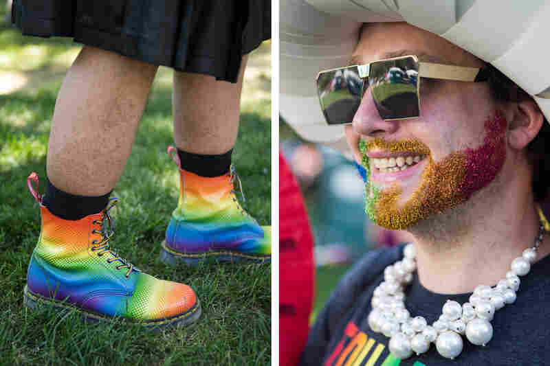"""An abundance of rainbow fashion could be seen during the Equality March in Washington, D.C., on Sunday, June 11. 28-year-old Tyler Cargill, right, showed off a glittering beard, while 50-year-old Charles Heath, left, sported a vibrant pair of boots. """"We don't believe in the President, but we believe in the country; that's why we're here,"""" Heath expressed."""