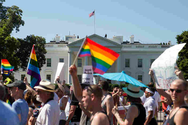 Thousands of demonstrators cross in front of The White House during the Equality March on Sunday, June 11.