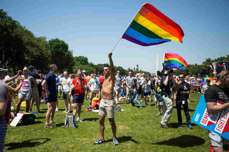 Pride flag in hand, Miguel Perez of Las Vegas danced on the National Mall during the Equality March in Washington, D.C., on Sunday, June 11.