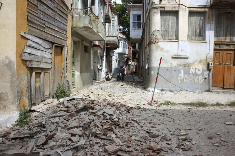 Debris from a damaged building after an earthquake in the village of Plomari on the northeastern Greek island of Lesbos on Monday. Manolis Lagoutaris/AP