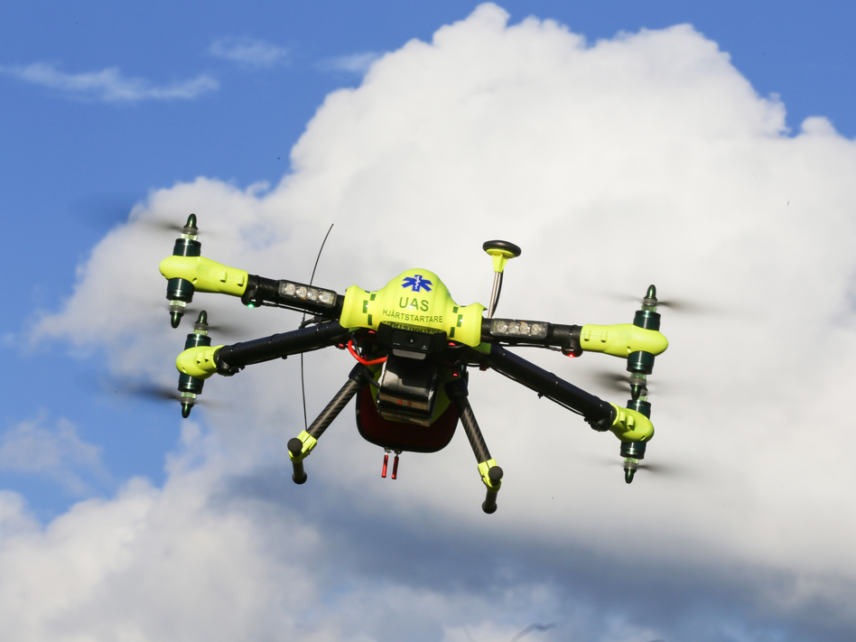 Drones carrying automated external defibrillators got to the sites of previous cardiac arrest cases faster than ambulances had, according to test runs conducted by Swedish researchers. (Andreas Claesson/Courtesy of FlyPulse)
