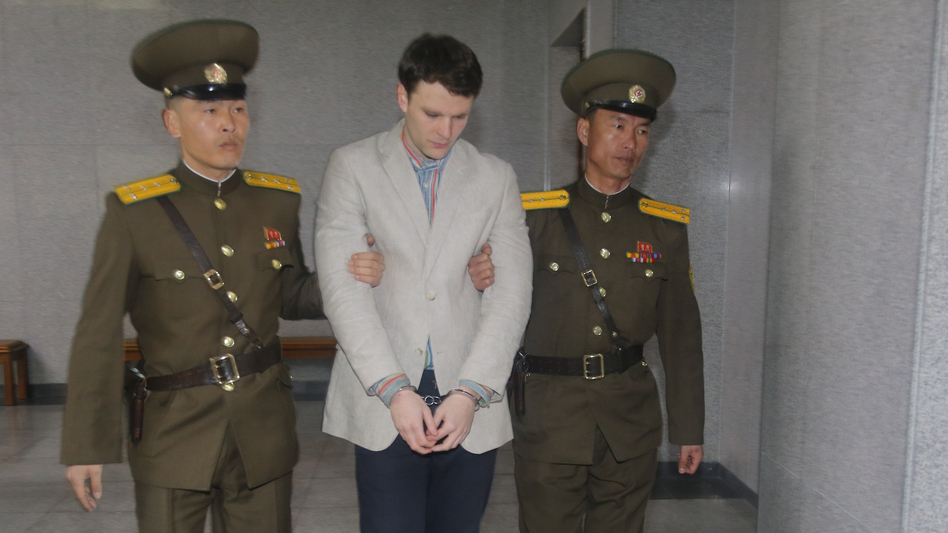 American student Otto Warmbier, seen here arriving for his trial in Pyongyang last March, has been freed, Secretary of State Rex Tillerson says. (Xinhua News Agency/Getty Images)