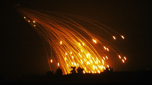 White phosphorous smoke screens were fired by the U.S. Army in November 2004 on the outskirts of Fallujah, Iraq.