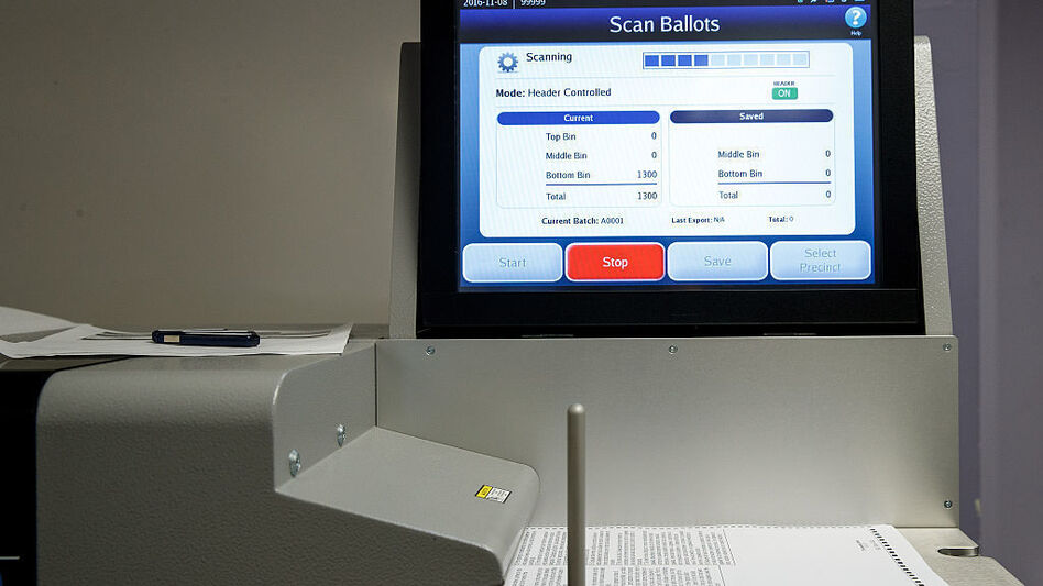 A ballot scanner in New York City ahead of last November's election. (Drew Angerer/Getty Images)