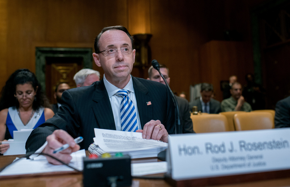Deputy Attorney General Rod Rosenstein testified before a Senate Appropriations subcommittee Tuesday morning. (Tom Williams/CQ-Roll Call/Getty Images)