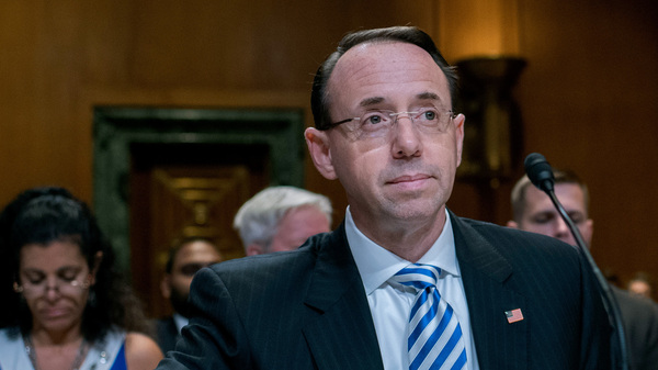 Deputy Attorney General Rod Rosenstein testified before a Senate subcommittee Tuesday morning.